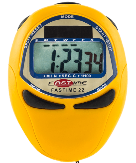 Single display stopwatch with solar assisted power