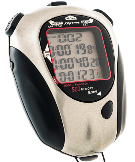 Stopwatch with 500 lap memory, data download to PC function