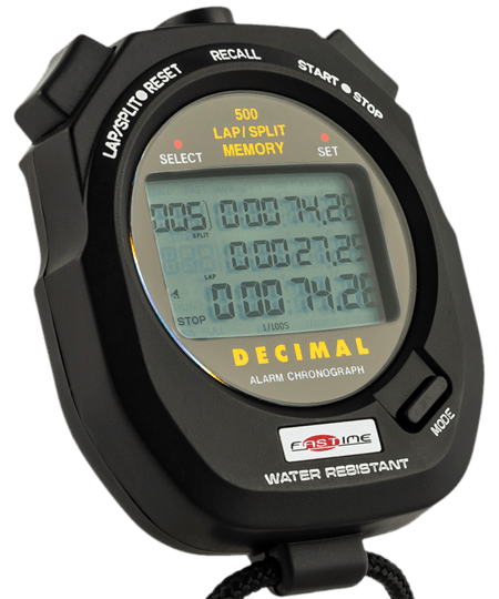 Decimal minute stopwatch for work study