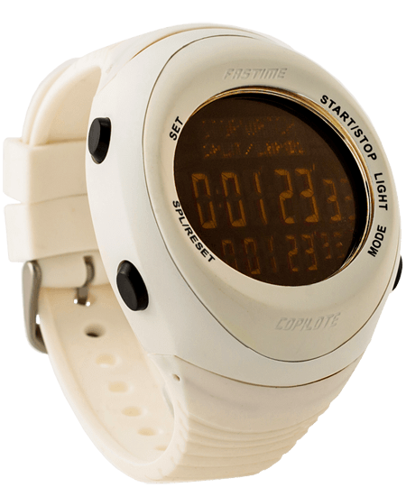 Fastime Copilote Rally Watch All White with Black Display