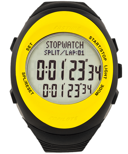 Fastime Copilote Rally Watch Yellow Bezel Black Display