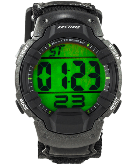Digital sports wristwatch with rugged case, holographic display and velcro strap