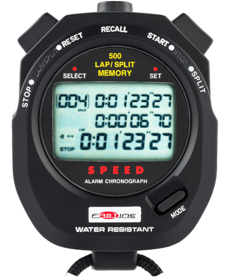 Professional level 500 lap segmented memory stopwatch. On Offer as No Beep. Otherwise all other functions working