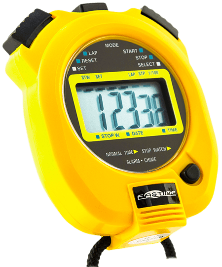 Professional quality single display stopwatch with extra large digits.