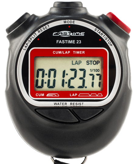 Split time function stopwatch with battery hatch