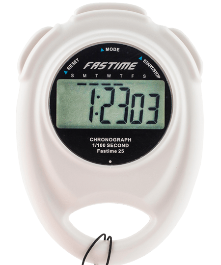 Single display stopwatch with battery hatch