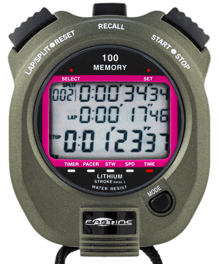 Professional 100 lap memory stopwatch with speed conversion.