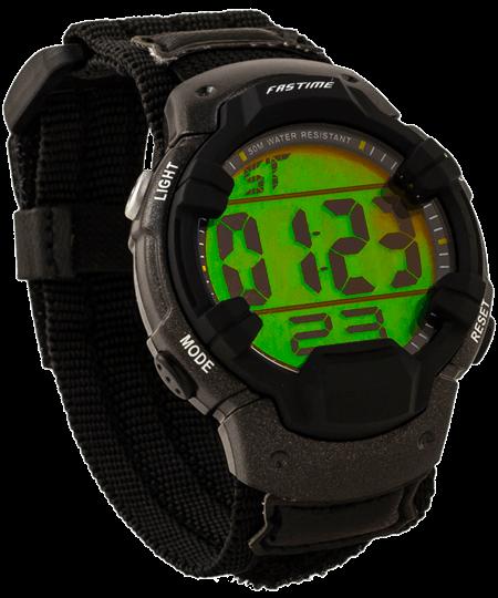Montre-bracelet de sport numérique avec boîtier robuste, affichage holographique et velcro