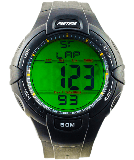 Referee watch with extra large digits, rugged case and holographic display.